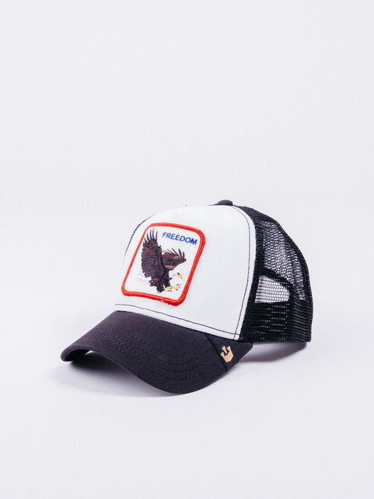 gorra Goorin Bros Freedom Trucker Black/White visera curva animales