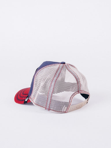 gorra Goorin Bros Big Rock Trucker Navy/Red/Beige visera curva ajustable leon