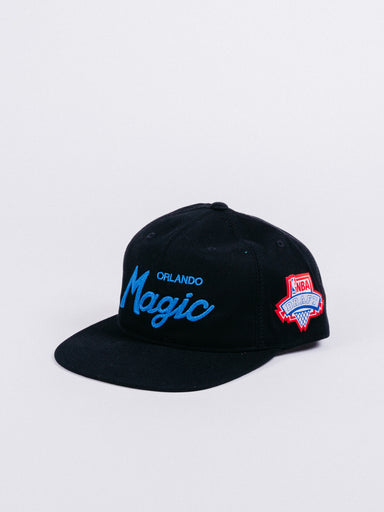 gorra mitchell and ness orlando magic snapback black nba draft script logo visera plana nba orlando ajustable