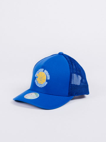 gorra mitchell and ness trucker golden state warriors visera curva rejilla caimionero visera curva nba royal blue azul