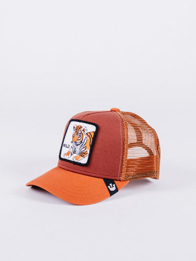 gorra goorin bros wild tiger trucker orange brown visera curva parche animales tigre cachorro