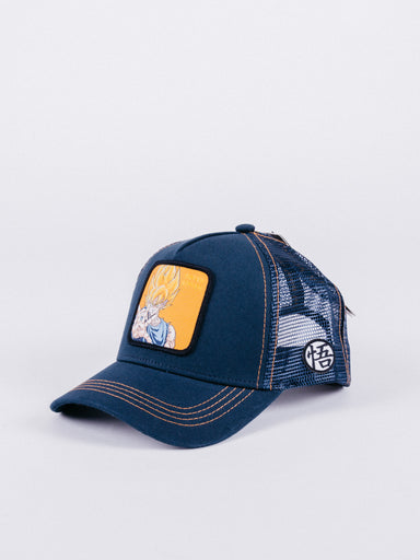 gorra capslab dragon ball z super saiyan trucker navy visera curva ajustable goku bola de dragon