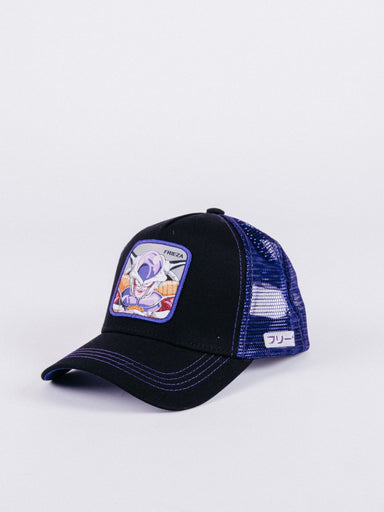 gorra capslab dragon ball z frieza 1 trucker black purple visera curva ajustable parche bola de dragón