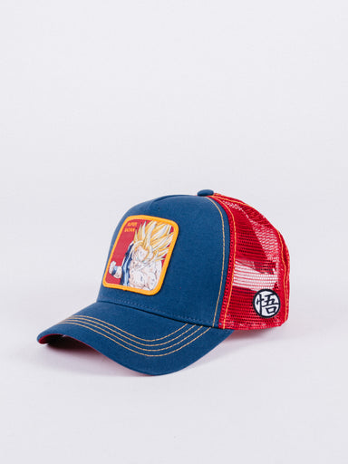 gorra capslab dragon ball z super saiyan trucker navy red visera curva ajustable goku bola de dragon