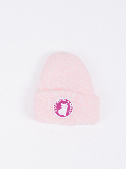 gorro Stop Being a Pussy Ribbed Beanie Pink gorro de invierno rosa gato skate rip n dip