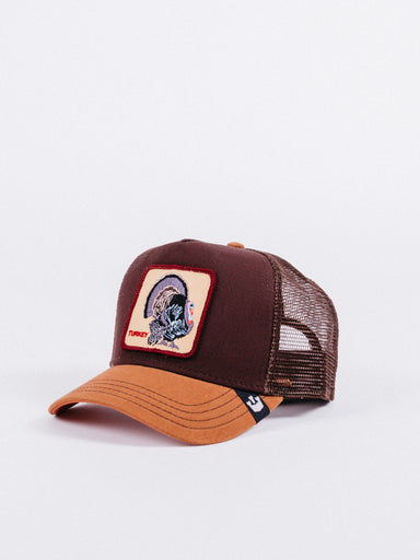 gorra Goorin Bros Wild Turkey Trucker Brown visera curva ajustable parche animales