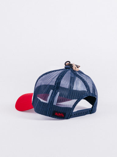 gorra Von Dutch Mot/BluTrucker Red/Blue visera curva rejilla ajustable moto