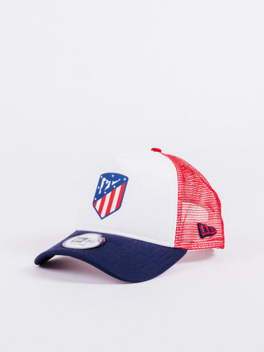 gorra NEW ERA x Atlético de Madrid Adjustable Trucker White/Red/Navy fútbol visera curva ajustable rejilla