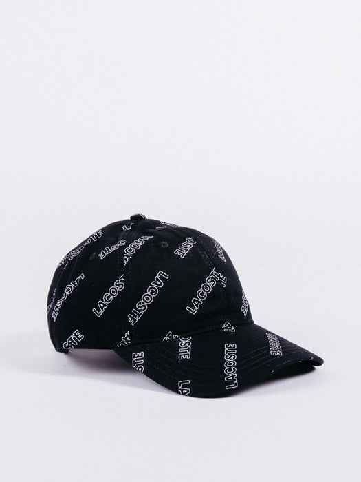 gorra Lacoste L!ve All Over Print Cap Black visera curva ajustable