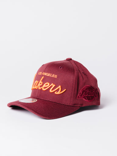 gorra lakers mitchel and ness granate