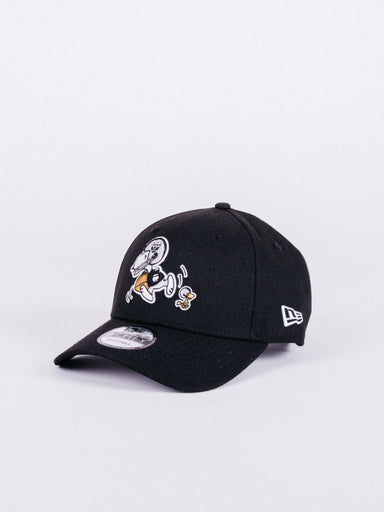 gorra New Era 9FORTY Peanuts x NFL Oakland Raiders Dad Hat visera curva ajustable negro snoopy