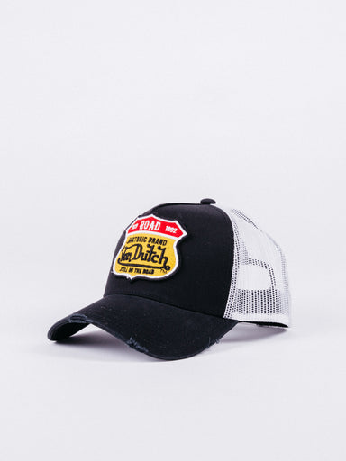 gorra von dutch ROAD2 Trucker Black/White visera curva ajustable parche frontal road rejilla