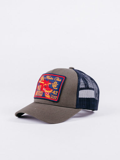 gorra von dutch Dragon2 Trucker Green/Navy visera curva ajustable verde y azul marino parche dragón