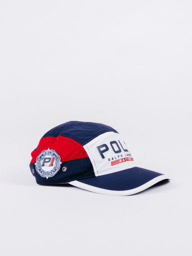 gorra polo ralph lauren polo racing 5 panel hat navy white red visera curva cinco paneles ajustable