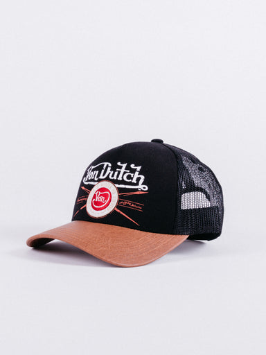 gorra trucker garage negra y marron von dutch