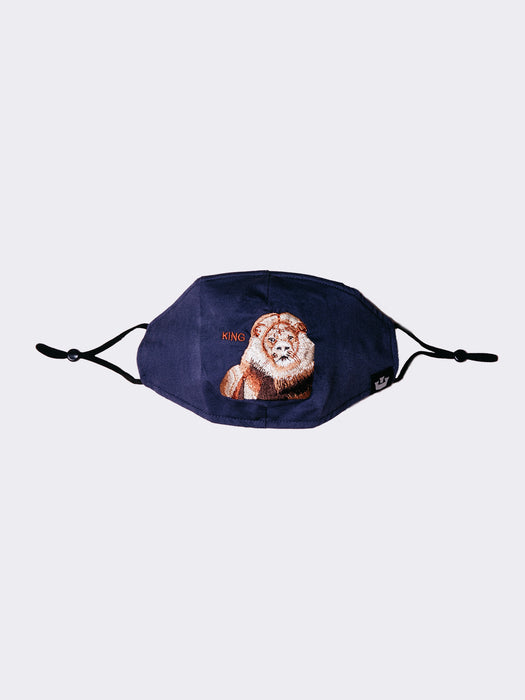 Lion Mane Cat Reusable Face Mask Navy