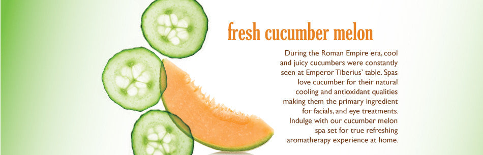 During the Roman Empire era, cool and juicy cucumbers were constantly seen at Emperor Tiberius' table. Spas love cucumber for their natural cooling and antioxidant qualities making them the primary ingredient for facials, and eye treatments. Indulge with our cucumber melon spa set for true refreshing aromatherapy experience at home.