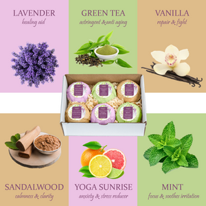 6 Different Calming Scents Bath Bombs: Vanilla, Mint, Lavender, Yoga Sunrise, Sandalwood, & Green Tea - Freida & Joe