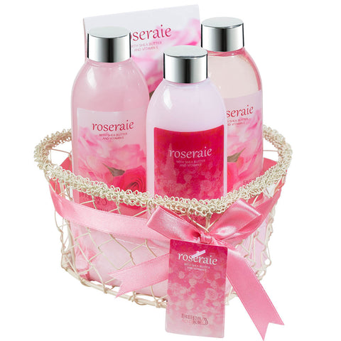 Roseraie Spa bath and body gift set displayed in wire heart shape basket - Freida & Joe