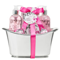 Pink Orchid Strawberry Spa: Bath Bombs, Body Lotion, Bath Salts, Shower Gel, Bubble Bath - Freida & Joe