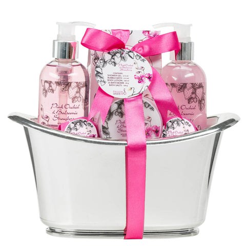 Pink Orchid Strawberry Spa Set: Bath Bombs, Body Lotion, Bath Salts, Shower Gel, Bubble Bath - Freida & Joe