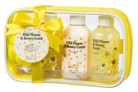Sensational Wild Flower and Honey Comb Gift Set: Summer Fields Home Spa for Women Bathroom Kit with Shower Gel, Bubble Bath, Body Lotion, and a Bath Puff - Freida & Joe