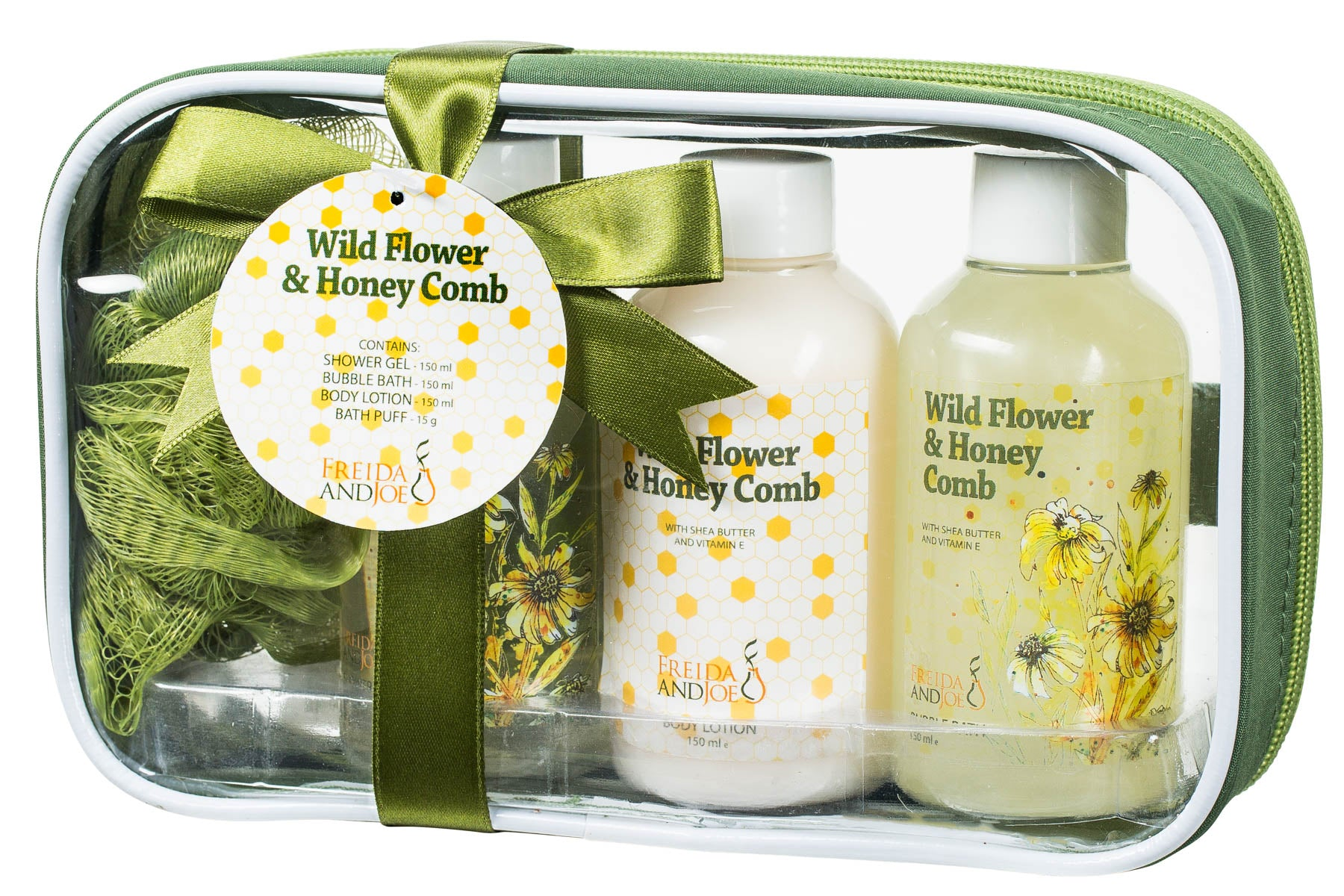 Wild Flower and Honey Comb Spa Gift Set: Shower Gel, Bubble Bath, Body Lotion, & Puff