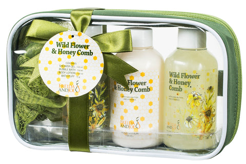Luxury Wild Flower and Honey Comb Spa Gift Set: Aromatic Bathroom Spa Features Shower Gel, Bubble Bath, Body Lotion, and a Bath Puff - Freida & Joe