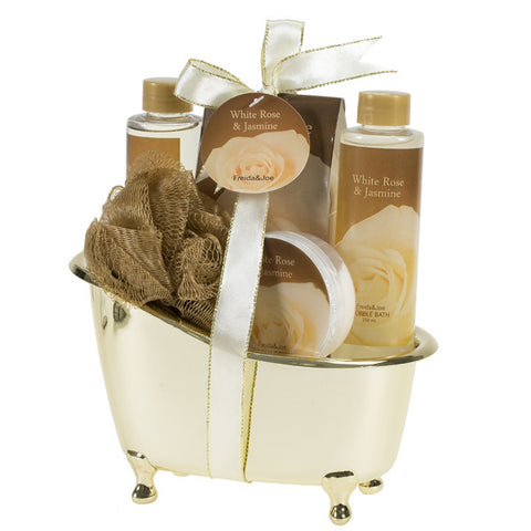 Luxurious & Elegant Bath Gift Set For Women By Freida Joe – Deluxe White Rose Jasmine Gold Tub Spa Gift Basket, Hydrating & Refreshing Bathroom Gel, Bubble Bath, Lotion & Salts – Luxury Gift Idea - Freida & Joe
