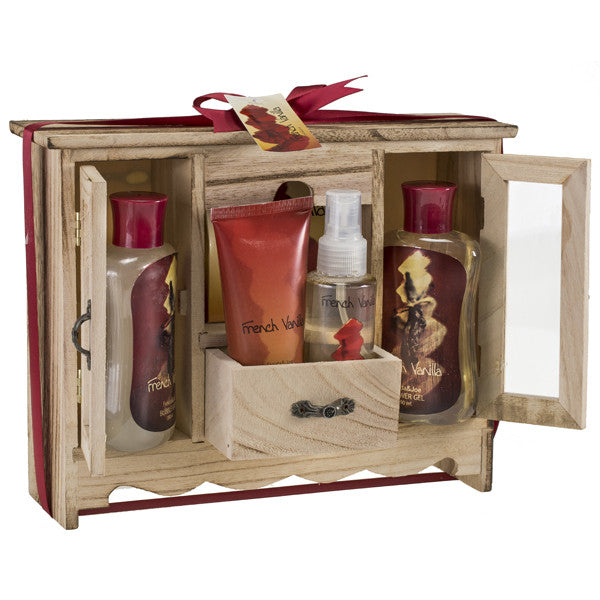 French Vanilla Spa Bath Gift Set in Natural Wood Curio With Refreshing Skin Care Products - Freida & Joe