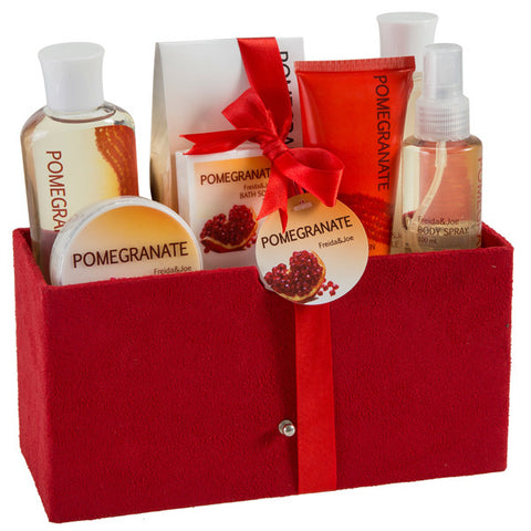 Pomegranate Fragrance Spa: Shower Gel, Lotion, Body Scrub & More Skincare Products - Freida & Joe
