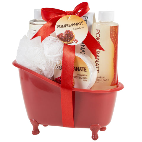 Pomegranate Bath Spa Basket: Bath Salts, Body Lotion, Shower Gel, Bubble Bath and Puff - Freida & Joe