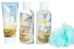 Oceanside Breeze Spa Bath Gift Set in Curio: Shower Gel, Bubble Bath, body Lotion & Puff - Freida & Joe