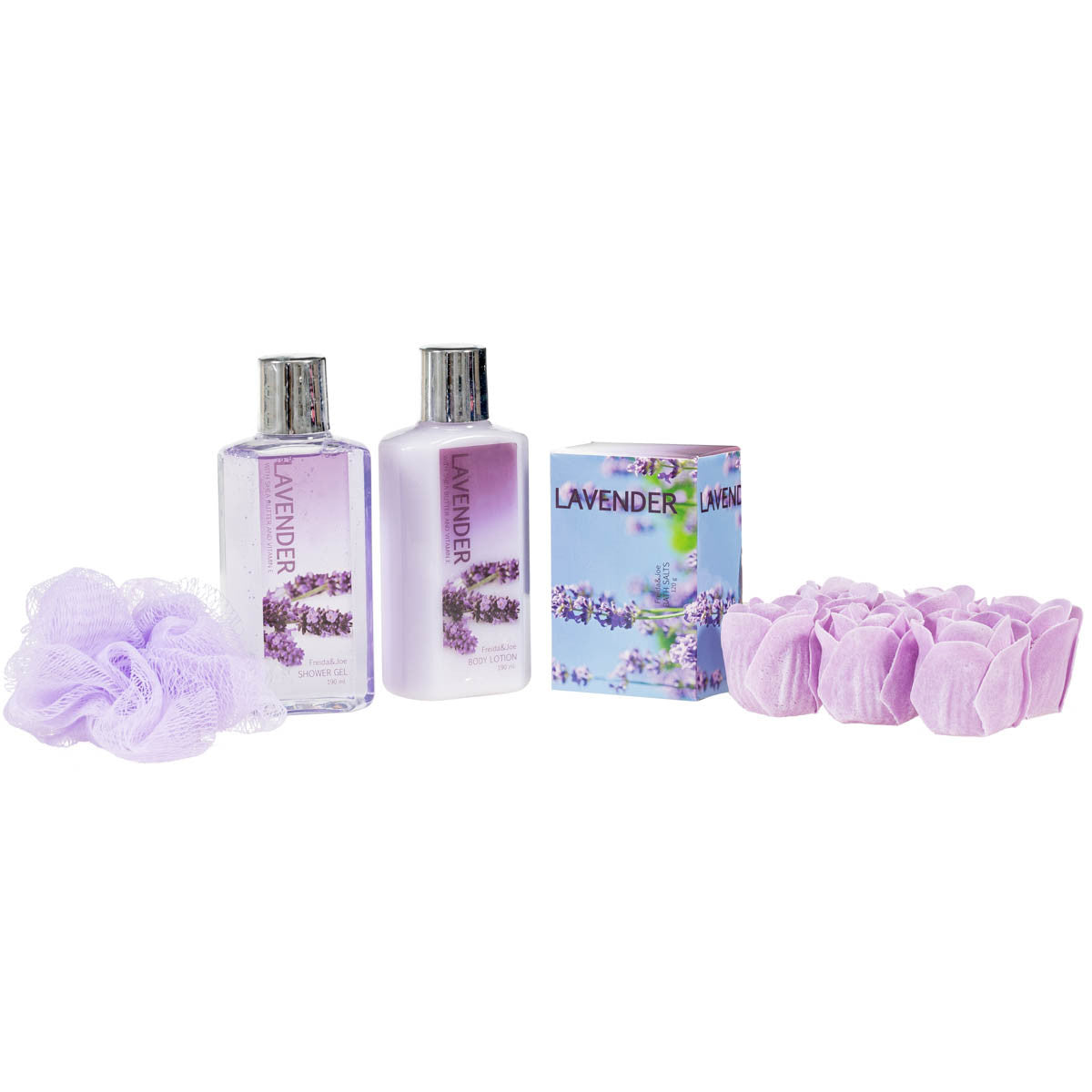 Lavender Spa Relaxation Kit With Body Lotion, Shower Gel, Bath Salts, & Rose Soaps. - Freida & Joe