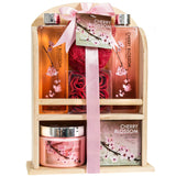 Cherry Blossom Spa Gift Set in a Natural Wood Caddy - Freida & Joe