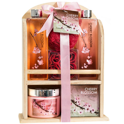 Cherry Blossom Bathroom Spa Gift Set: Spring Clean Your Senses with Shower Gel, Bubble Bath, Bath Salts, Body Lotion, Bath Puff, and Rose Soaps Packed with Traditional Wooden Shelf Storage - Freida & Joe