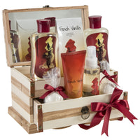 French Vanilla Set: Bath Bombs, Body Lotion, Body Spray, & More in a Wooden Jewelry Box - Freida & Joe