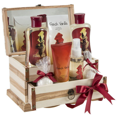 French Vanilla Aromatherapy Essential Oil Bath And Body Gift Set,2 Vanilla Bath Bombs, Vanilla Lotion, Body Spray, Bath Salts, Shower Gel and Bubble Bath, Displayed in A Luxury Wooden Jewelry Box - Freida & Joe