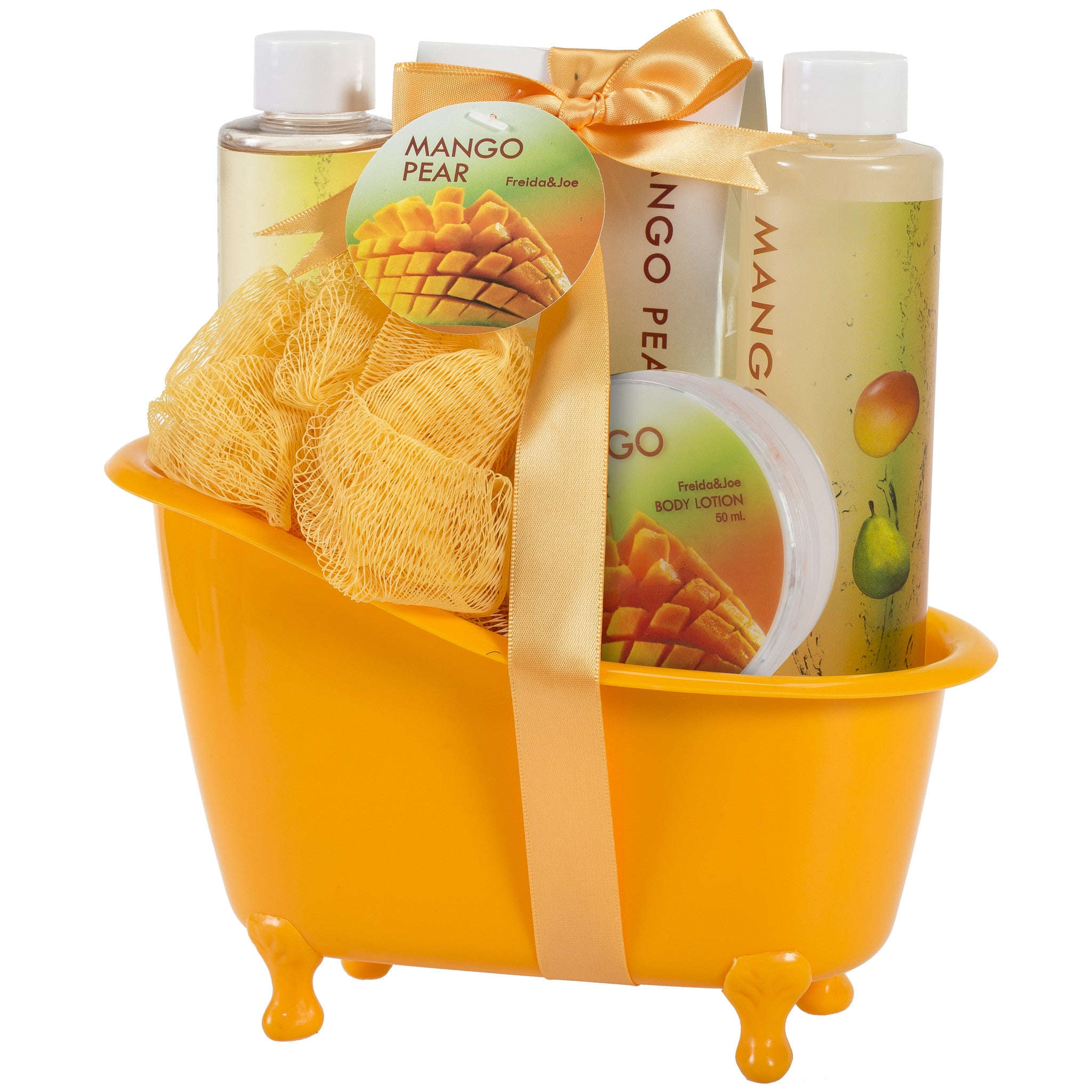 Mango Pears Tub Spa Bath Set: Shower Gel, Bubble Bath, Body Lotion, Bath Salt, & Puff