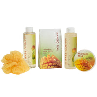 Mango Pears Tub Spa Bath Set: Shower Gel, Bubble Bath, Body Lotion, Bath Salt, & Puff - Freida & Joe