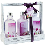 Tulip Fragrance Bath and Body Bathroom Gift Set: Shower Gel, Bath Salts, Hand Cream. - Freida & Joe