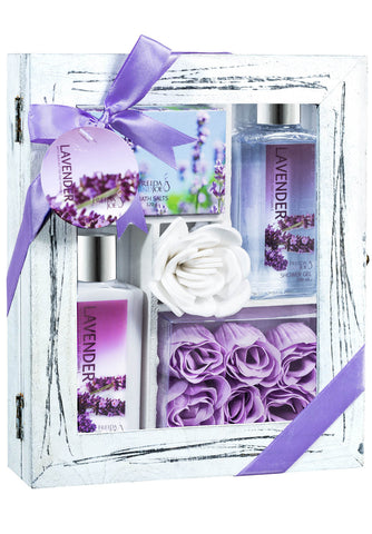 Relaxing Lavender Spa Set - Complete Bath Relaxation Kit With Lotion, Shower Gel, Bath Salts, & Rose Soaps - Bath Gift Set in Distressed White Wood Curio - Freida & Joe