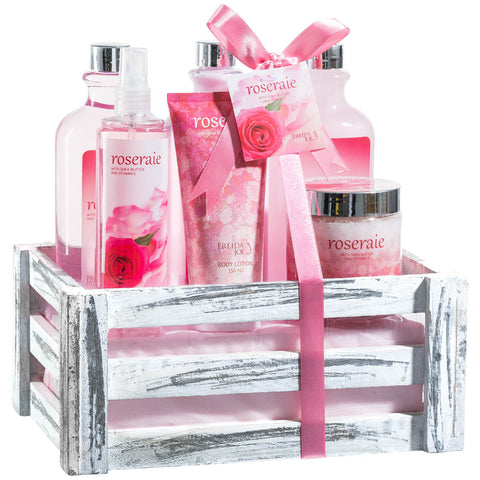 Pink Rose Bath Set in Vintage Wood Crate with Multiple Rejuvenating Skin Care Products - Freida & Joe