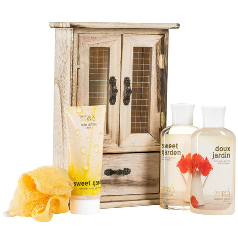 Sweet Garden Bath and Body Wood Curio: Shower Gel, Bubble Bath, Body Lotion & Puff - Freida & Joe