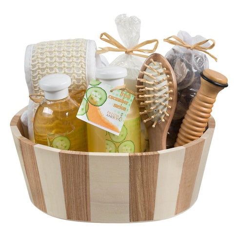 Fresh Cucumber melon two tone wood spa basket - Freida & Joe