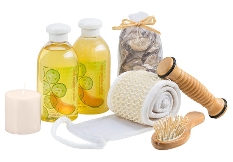 Massage and Reflexology Kit ~ Fresh Cucumber-Melon All Over Body Skin Care Spa Set - Freida & Joe