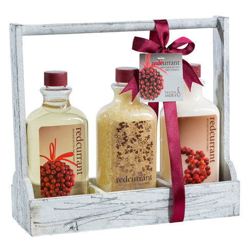 Bath and Body Gift Sets For Women, Redcurrant Detoxing Bath Salts, Shower Gel, Skin Hydrating Hand Cream. - Freida & Joe
