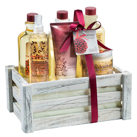 "Antique vintage distress white wood crate with ""Redcurrant"" bath and body products - Freida & Joe"