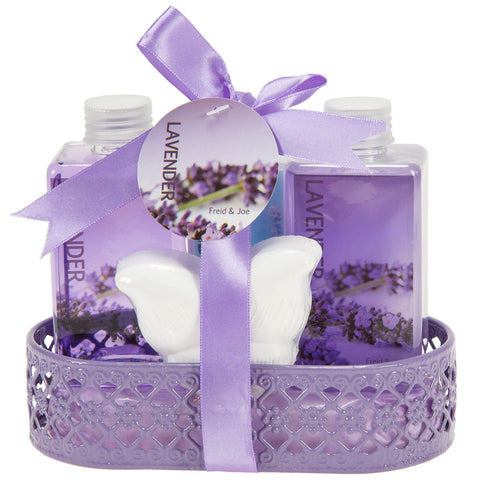 Floral Delight Bathroom Gift Set for Women: Perfumed Lavender Set of Body Lotion, Bubble Bath, Shower Gel, and Bath Fizzer - Freida & Joe
