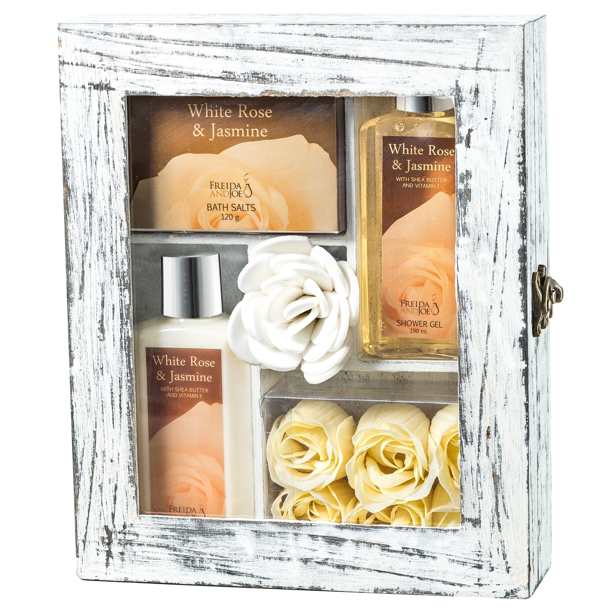 White Rose Jasmine Spa Gift Set in Natural Wood Curio With Refreshing Skin Care Products